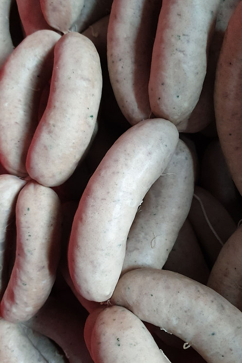 Pork and watercress sausage pre cooks. 20 pack