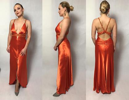 Pomarańczowa suknia na wielkie wyjście rozmiar 38