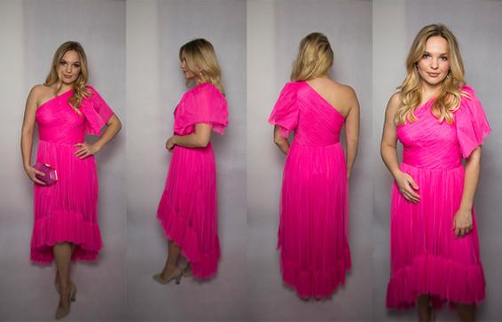 Fuksja – kolor na pierwszym planie ! Balowa suknia z falbanami rozmiar 38/40