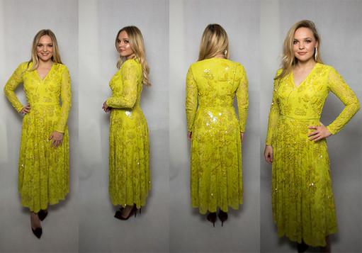 Limonkowa sukienka z cekinami i koralikami ASOS
