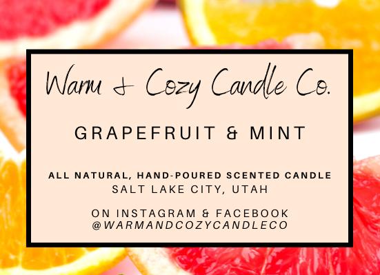 Grapefruit & Mint 100% Soy Candle