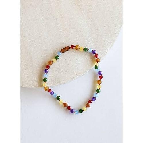 Raw Amber + Rainbow Gemstones Necklace