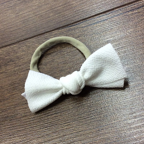 White Messy Bow Headband