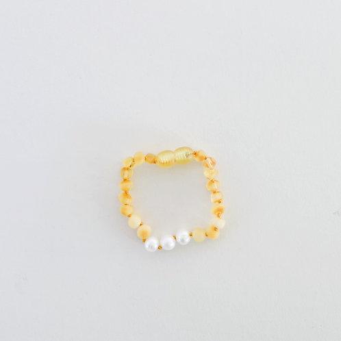 Raw Amber + Pearls Anklet/Bracelet