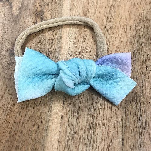 Aqua & Purple Tie Dyed Messy Bow Headband