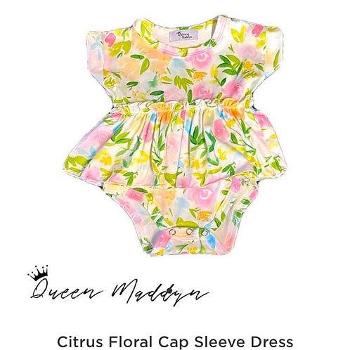 Citrus Floral Romper Twirl Dress