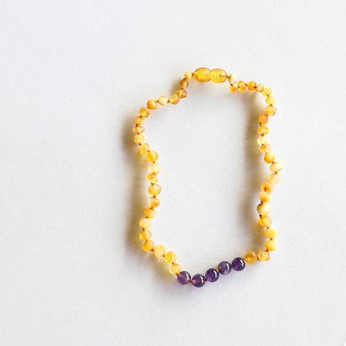 Raw Amber + Amethyst Necklace