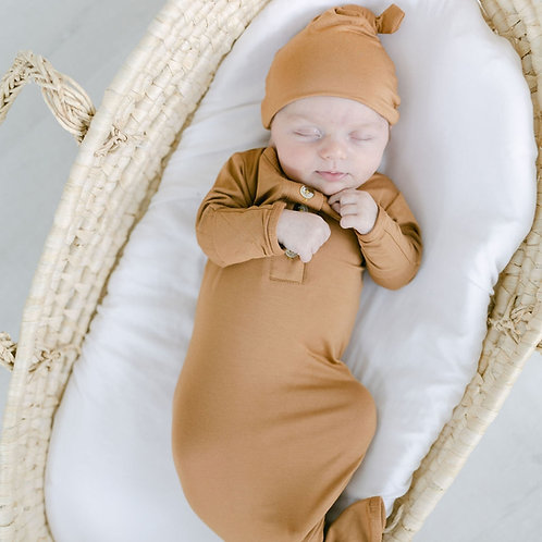 Knotted Baby Gown Set-Camel Brown