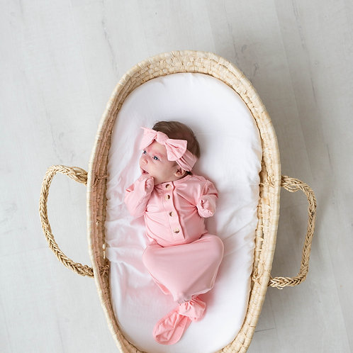 Knotted Baby Gown Set-Pink