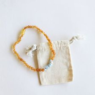 Raw Honey Amber + Amazonite Necklace