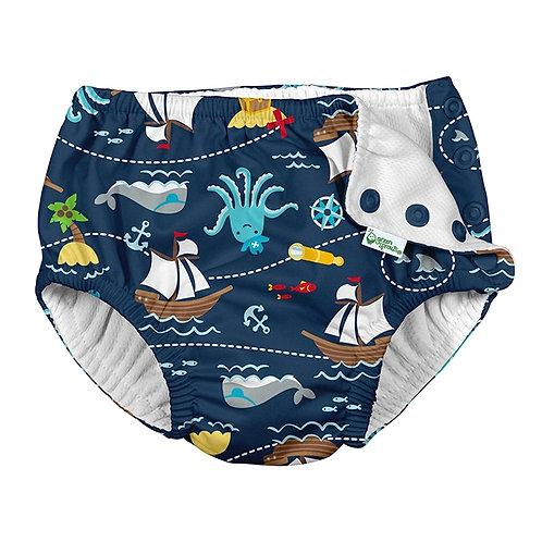 Navy Pirate Ship Swim Diaper 1 in stock 18 months