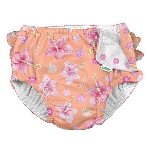 Coral Hibiscus  Ruffle Swim Diaper- 1 in stock 12 months