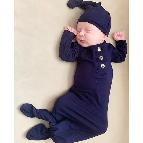 Knotted Baby Gown Set- Navy