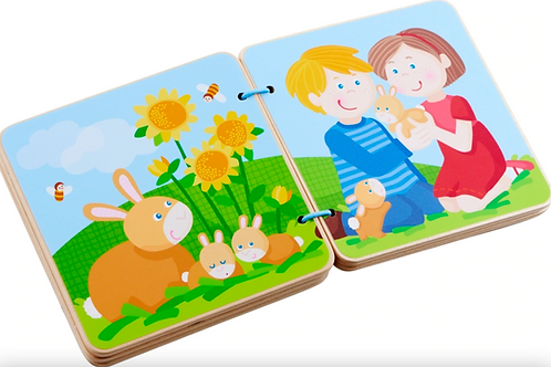 Animal Farms Wooden Baby Book