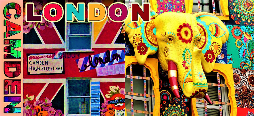 Camden, London. Camden town's unique atmosphere, colorful shop fronts with Namaste Fair Trade shop on Camden High Street with its famous yellow elephant.