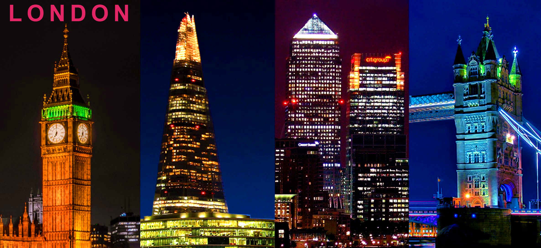 Postcard: London City, Big Ben, The Shard, City of London and Tower Bridge