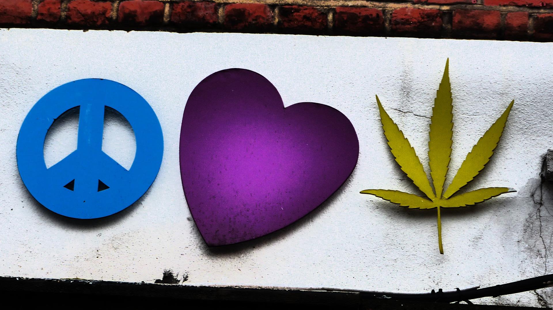 Peace, heart, cannabis, shop sign, Camden Town, London
