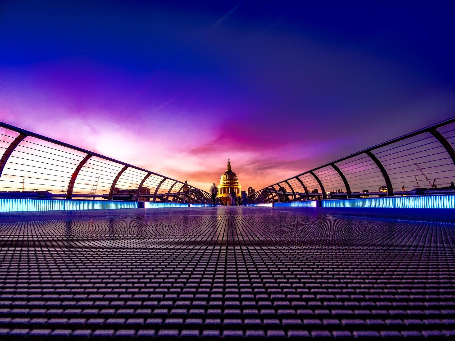 Millennium Bridge at Sunset, London