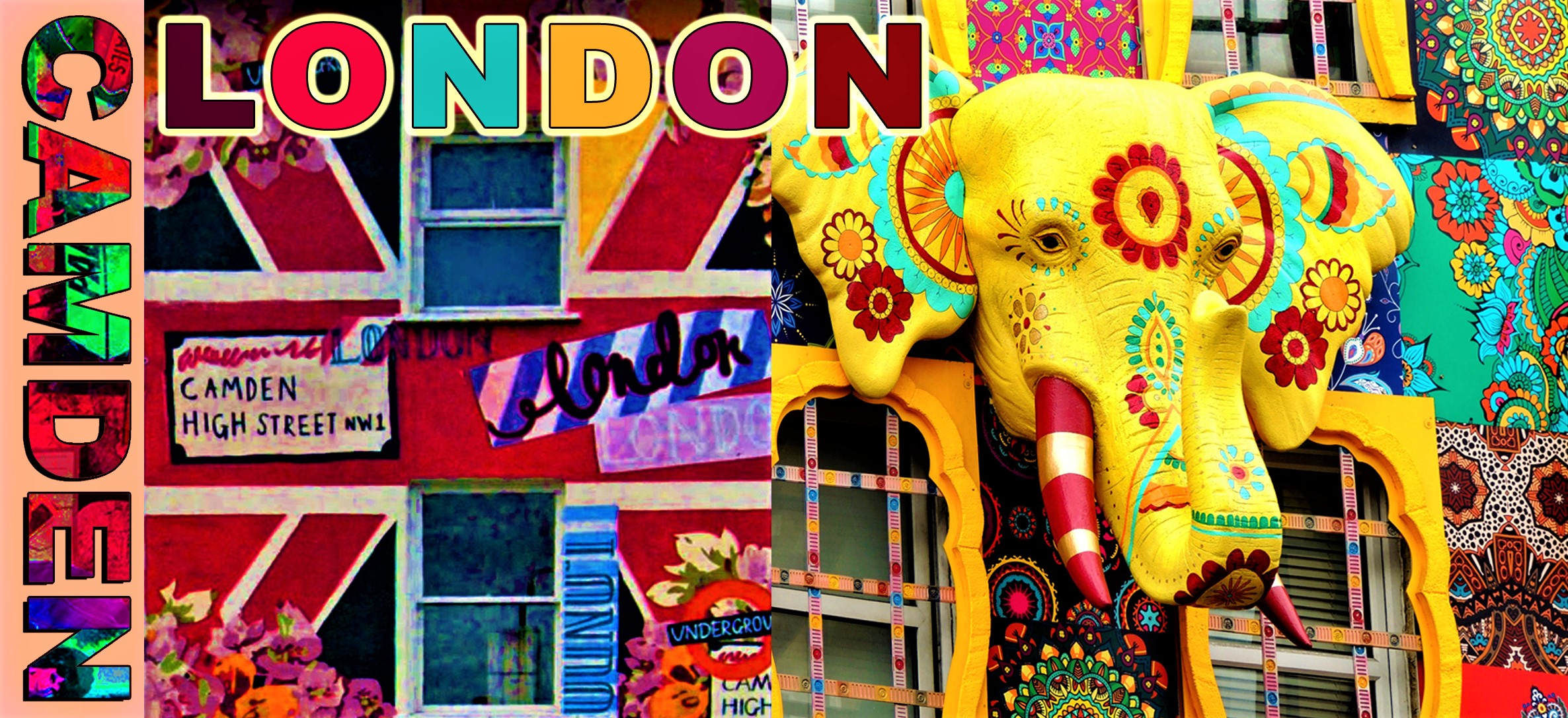 Postcard - the eccentric and elaborately decorated shops of Camden High Street, Camden London