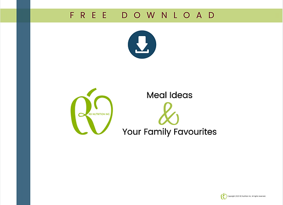 Meal Ideas Worksheet - Your Family Favourites