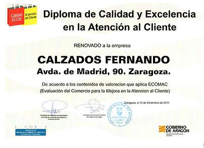 Diploma de calidad Calzados Fernando Avenida de Madrid