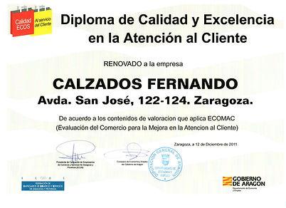 Diploma de calidad Calzados Fernando San José
