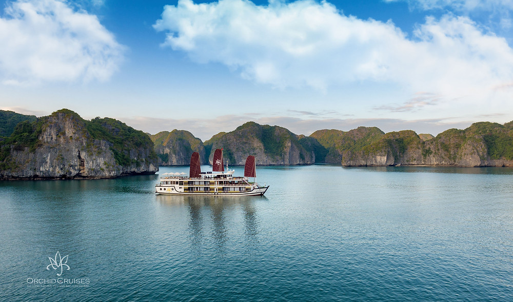 "Orchid Cruises ""Junk"" Cruise Ship in Halong Bay"