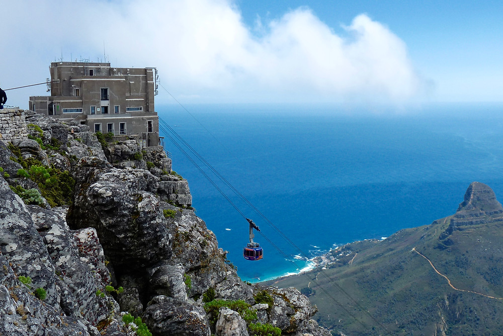 Cable car ascends Table Mountain, Cape Town, South Africa
