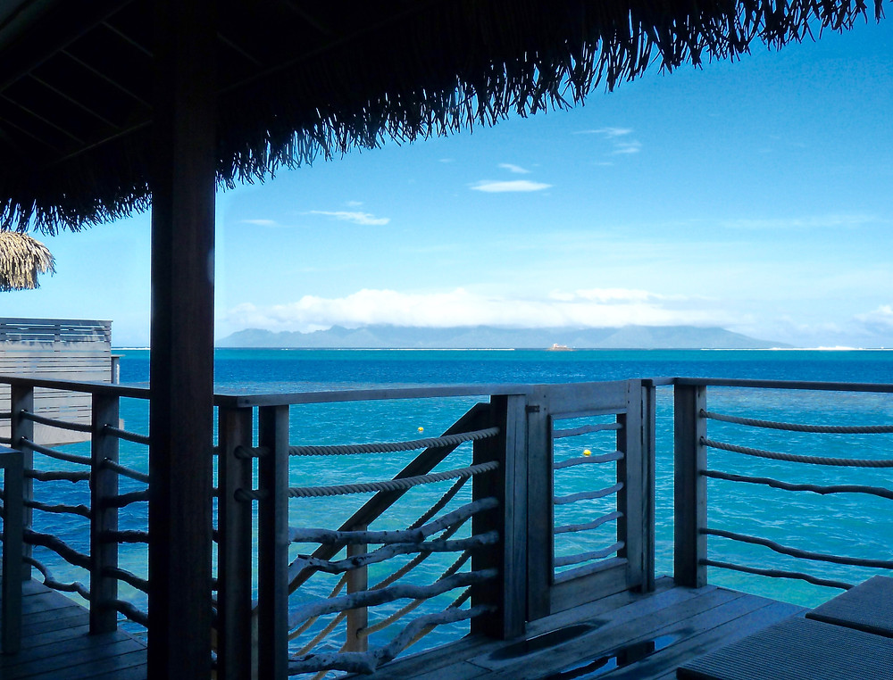 View from deck of overwater bungalow, Tahiti InterContinental