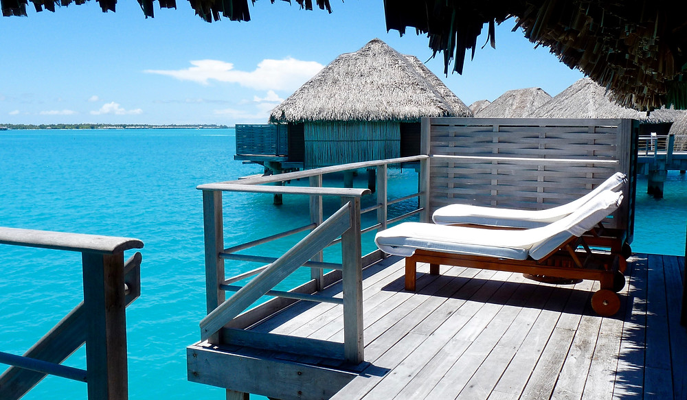 Deck on overwater bungalow at Four Seasons Bora Bora