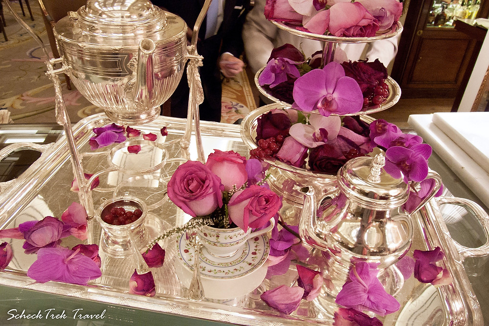 Silver tea service & flowers at Ritz Madrid