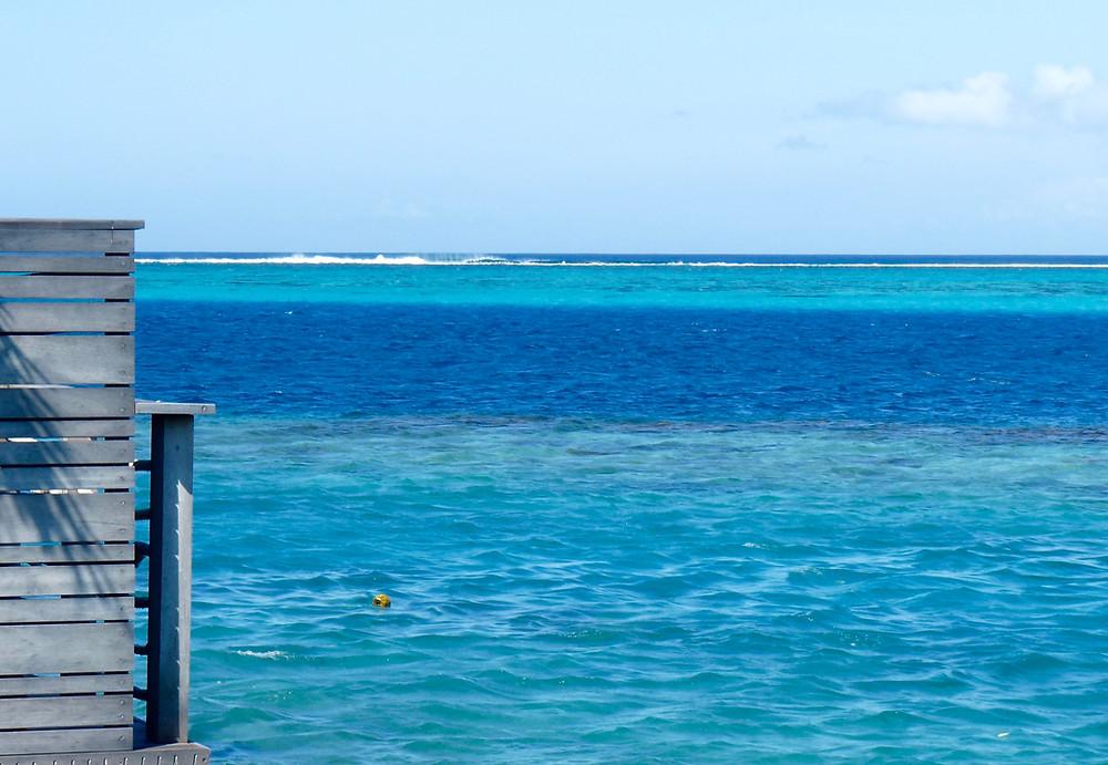 Multi-hued water at the Tahiti InterContinental