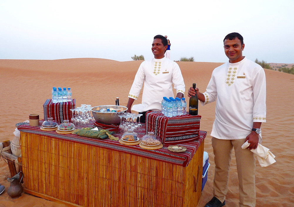 Sundowner buffet on the desert at Al Maha Resort