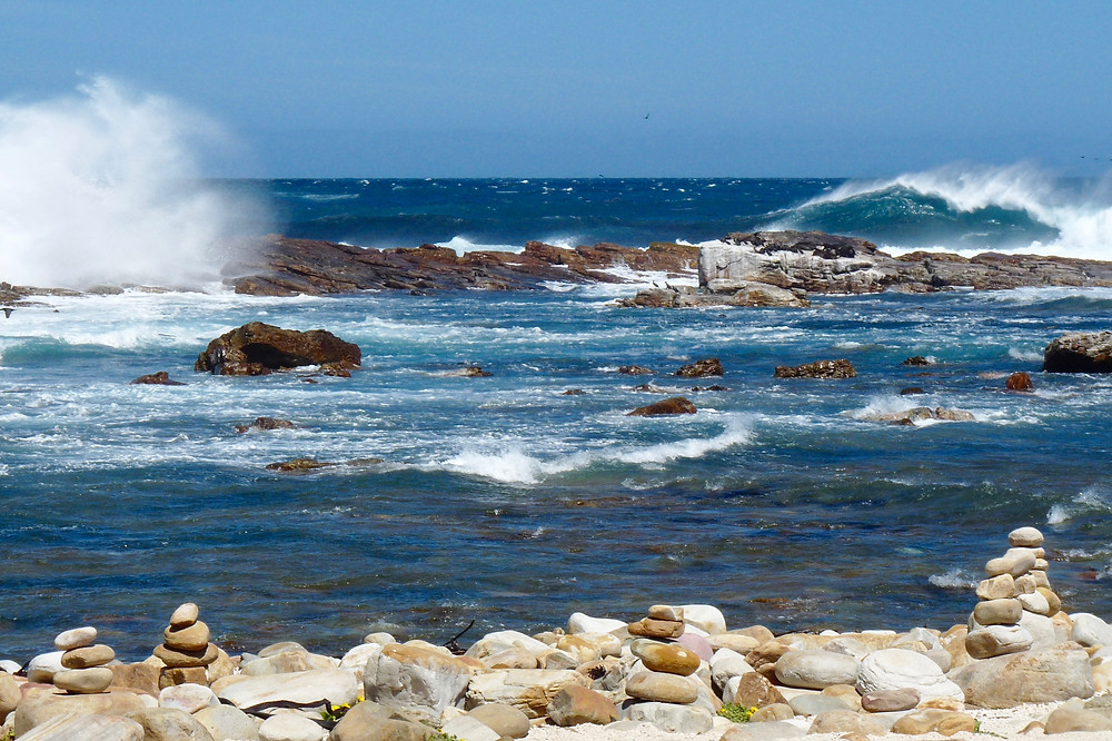 Water and gale-force winds at the Cape of Good Hope