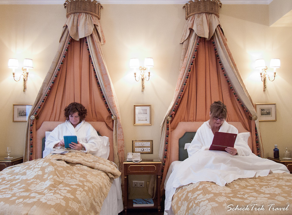 Our princess beds at Ritz Madrid