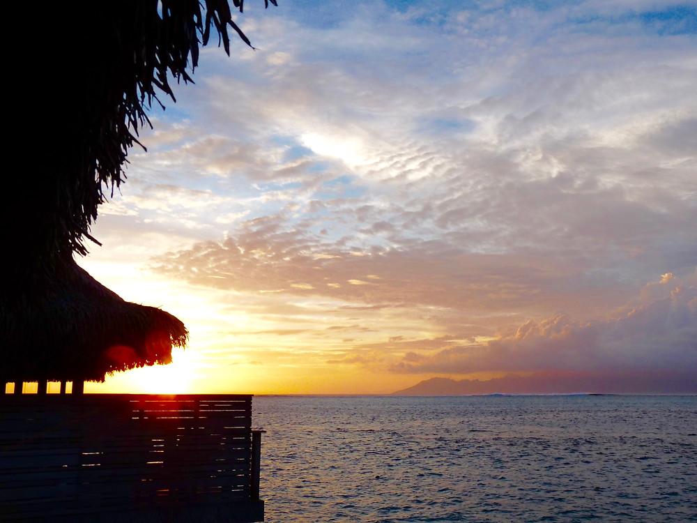 Sunset over water at the Tahiti InterContinental
