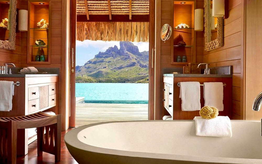 Bathroom of overwater bungalow, Four Seasons Bora Bora