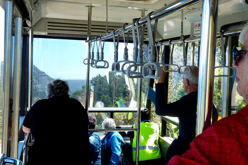 Riding the funicular at Cape Point, South Africa