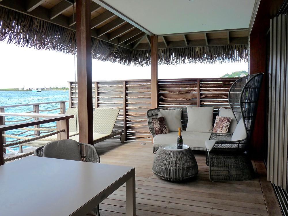 Deck of Jr Suite Motu Overwater Bungalow, Tahiti InterContinental