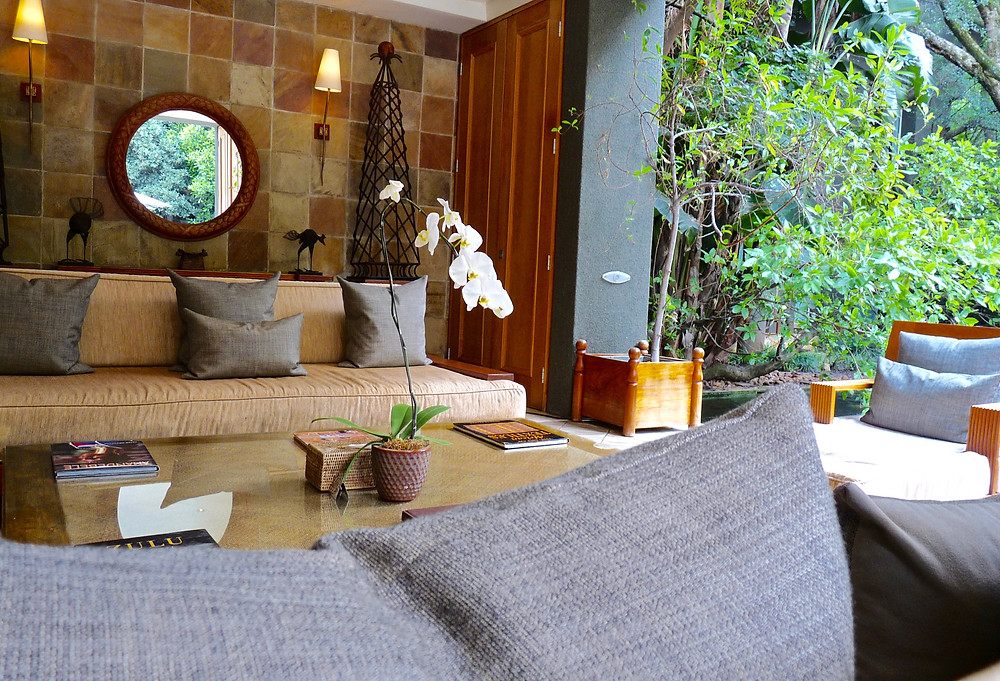 Guest lobby by koi pond at the Saxon, Johannesburg
