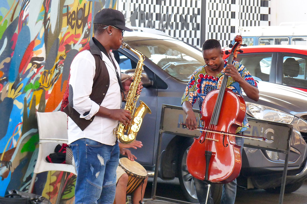 Musicians playing at Maboneng, in Johannesburg