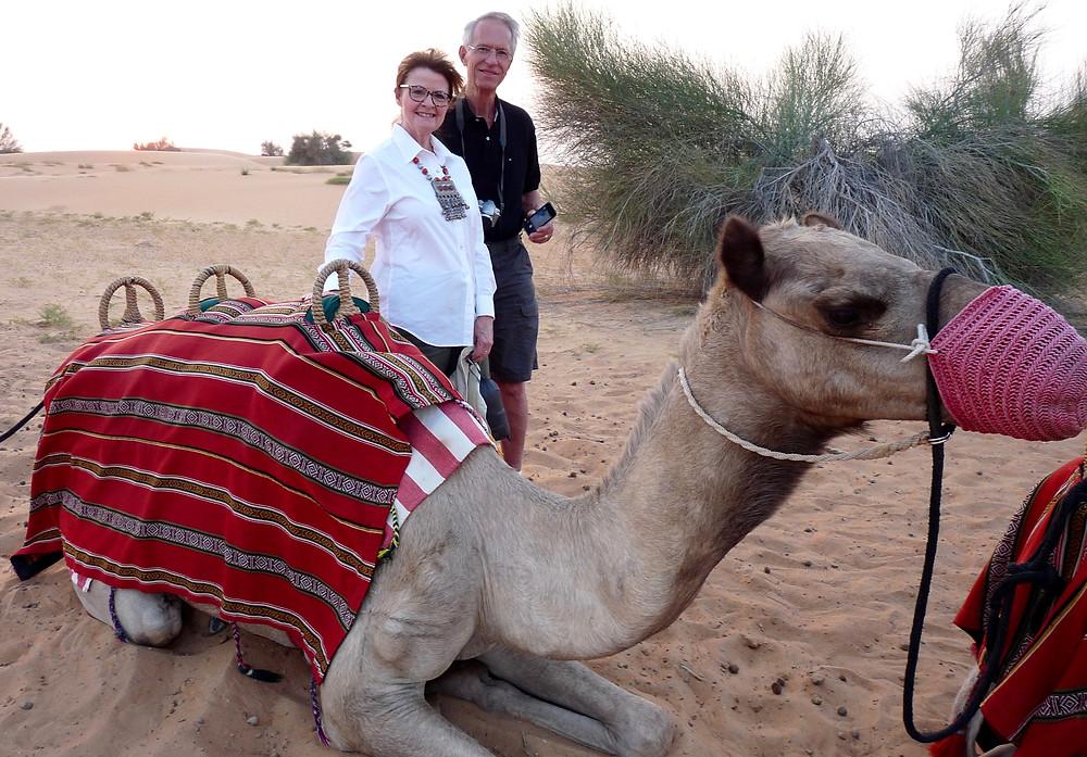 Al Scheck, Vicki Scheck & camel at Al Maha, Dubai