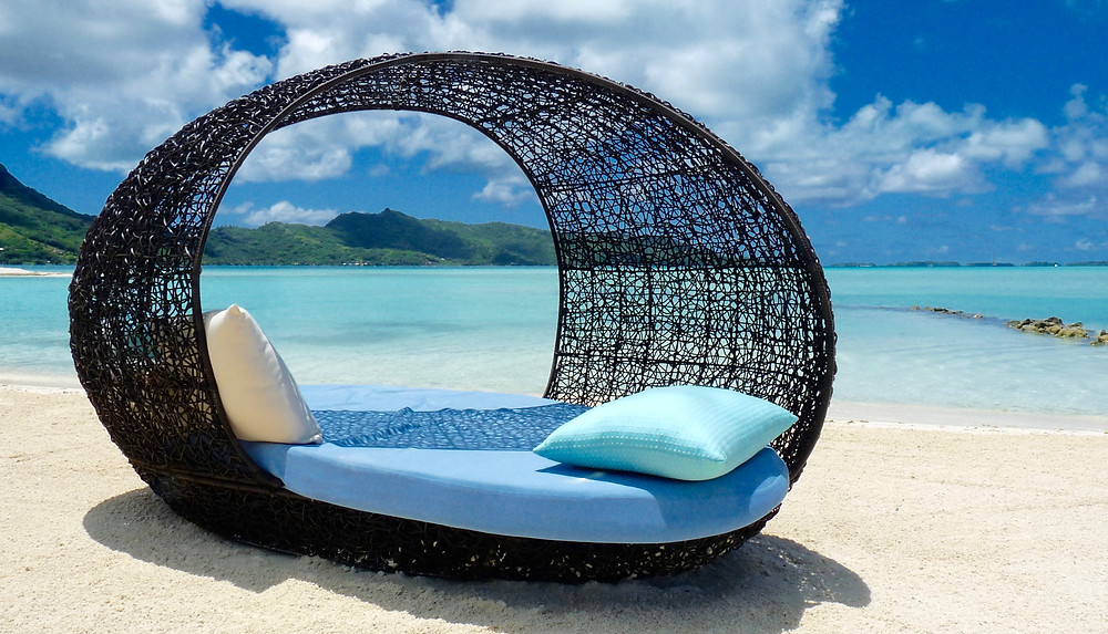 Beach bed at Four Seasons Bora Bora