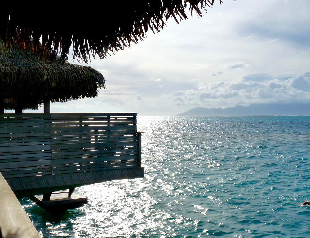 Shimmering water off deck, Tahiti InterContinental