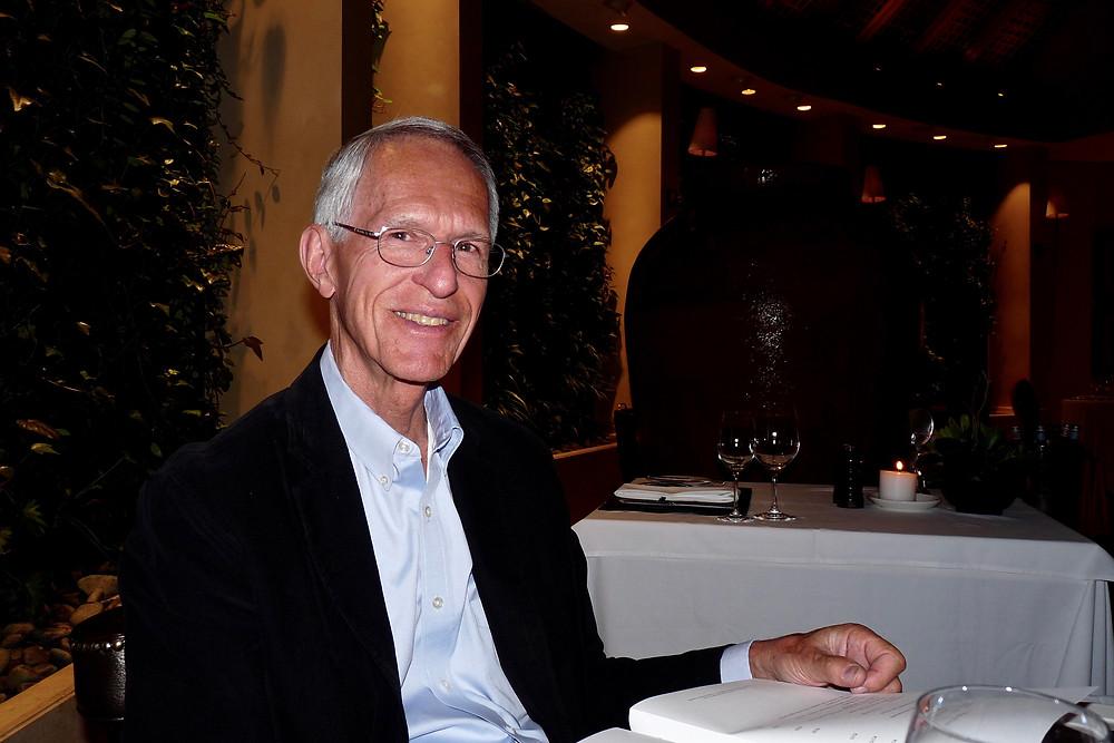 Al Scheck at dinner at Gunu, Saxon Hotel, Johannesburg