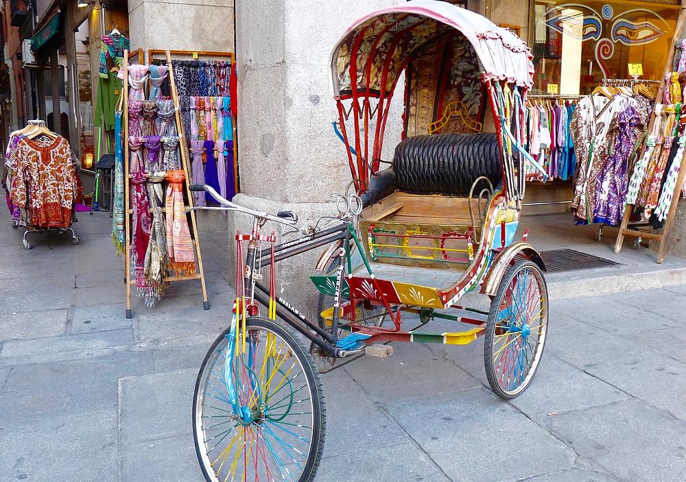 Rickshaw on Madrid Sidewalk