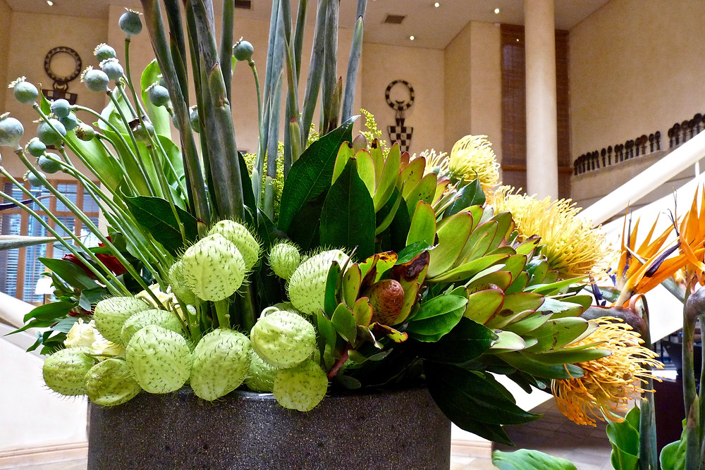 Flower arrangement at the Saxon hotel, Johannesburg