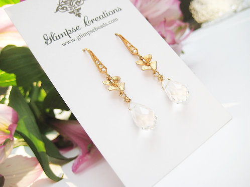 Gold Flower Swarovski Crystal Bridal Earrings