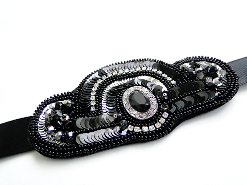 Great Gatsby Inspired Black and SIlver Embroidered Hair Ribbon