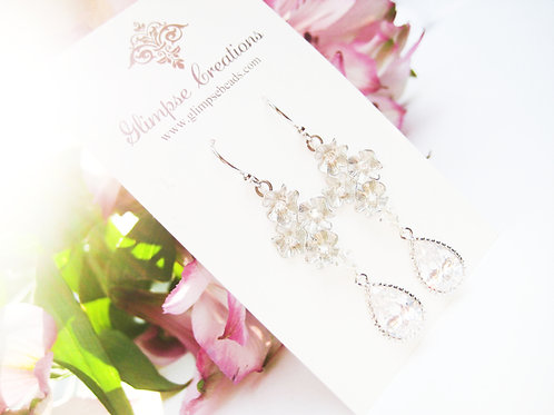 Silver Crystal Cluster Flower Bridal Earrings